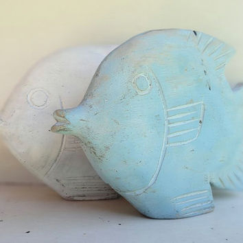 Carved Wood Fish Vintage Nautical Decor Beach Theme Aqua Blue and White