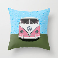 VW Kombi van Throw Pillow by Bruce Stanfield | Society6