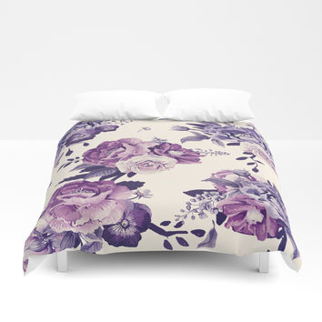Purple floral boho pattern Duvet Cover by printapix