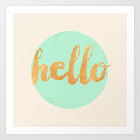 Hello -  Mint & Gold Art Print by Allyson Johnson