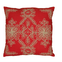 "Applique Jute Embroidered and Cording Red Pillow Cover (18"" x 18"")"