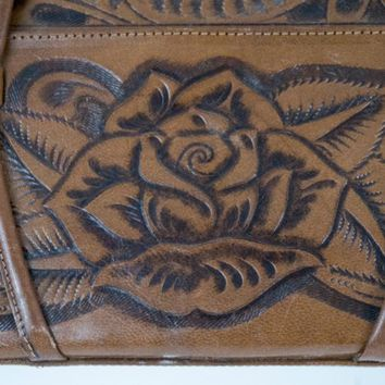Hand Tooled Leather Purse Rose Mayan Circle Brown Handbag Vintage