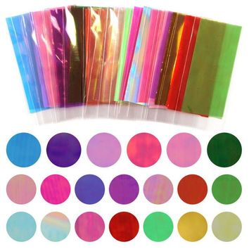 VONEML3 Hot Sale 20 Different Colors Broken Glass Pieces Mirror Foil Tips Stencil Decal Nail Art Sticker Cute Manicure Tools For DIY