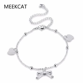 MEEKCAT Women's 925 stamped silver plated Ankle Bracelet Zircon Bowknot Heart Long Chain Jewelry Wholesale and Free Shipping