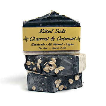 Activated Charcoal Face Soap Oatmeal Soap Handmade Soap Acne Soap Detox Soap Vegan  Soap Natural Soap Cold Process Soap Black Soap Face Wash