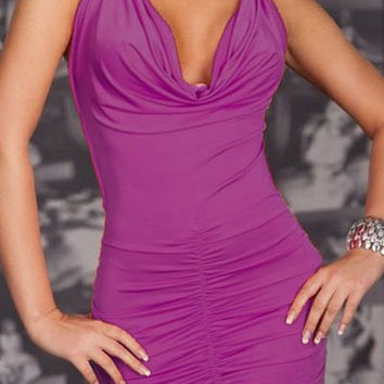 Purple Ruffled Bodycon Mini Dress