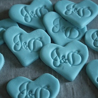 Fondant monogram hearts, edible plaques or toppers for cake decorating and cupcakes