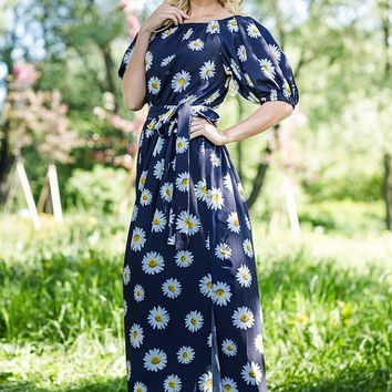 "Floral Blue Maxi Dress ""SummerColor"" 100% Viscose  /   Designer summer dress, plus size maxi dress, beach dress, long dress, off shoulder"