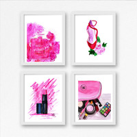 Pink Chanel Set of 4 Chanel perfume no 5 lipstick pipe bathroom print Printable Wall Art pink bathroom decal makeup poster lip stick deco