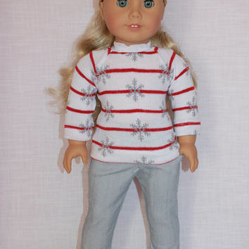 Christmas snowflake stripe sweater, grey denim skinny jeans,18 inch doll clothes, American girl, Maplelea