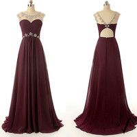 New Arrival Wedding Party Dresses Cap Sleeve Beaded Unique Design Long Chiffon A Line Crystal Evening Dress 2014