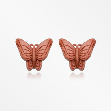 A Pair of Autumn Butterfly Handcarved Wood Earring Stud