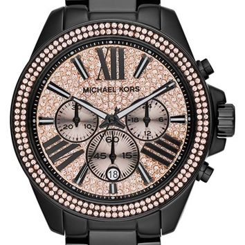 Women's Michael Kors 'Wren' Pave Dial Chronograph Bracelet Watch, 42mm - Black/ Rose Gold