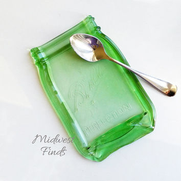 Quart Melted Mason Jar made from a green widemouth quart, spoon rest, tray, plate, dessert dish, ring dish, gift box included