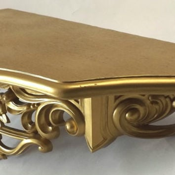 Vintage Gold Plastic Wall Shelf, 1969 Dart Industries, Hollywood Regency Boudoir Home Decor, Large with Ornate Molded Roses