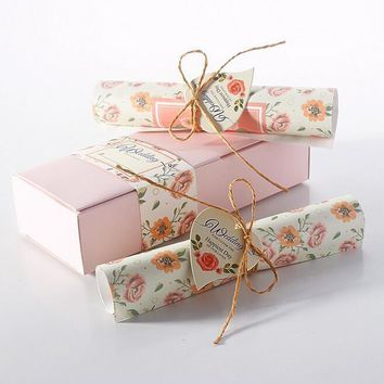 Free shipping pink box hemp rope love heart scroll wedding invitations card supplies 30pcs/lot
