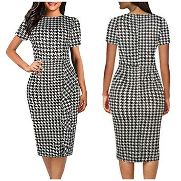 Business Style Pencil Dresses, Houndstooth, Sizes Small - 2XLarge