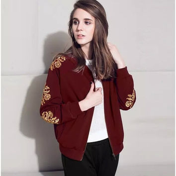 Gold Embroidered Zippered Jacket