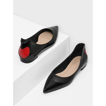 Heart Pattern Pointed Toe Flats