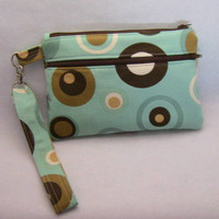 Aqua Green and Brown E Reader case, Camera Case, Wristlet