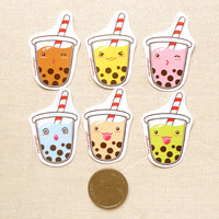 Sweet Delicious Tapioca Bubble Tea Sticker Flakes - Kawaii Cute Drinks Stickers - Pack of 15 - Party Favors, Gifts, Planner Stickers