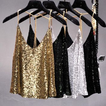 CREYONHS 2017 Summer sexy Supper metal chain blingbling sequins halter camis women short loose backless metallic shiny camisole strap top