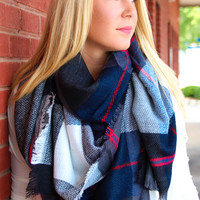 Black, Gray, Blue, Red, and White Blanket Scarf