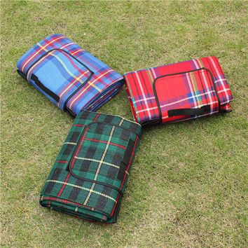5 Size Outdoor Beach Picnic Folding Camping Mat Multiplayer Waterproof Sleeping Camping Pad Mat Moistureproof Plaid Blanket