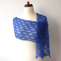 blue skinny scarf handknit mohair lace