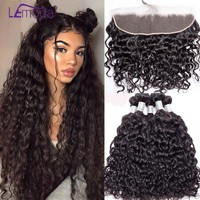 LeModa Malaysian Water Wave Bundles With Frontal Closure Human Hair Bundles With Frontal Closure Remy Hair Weave Extensions