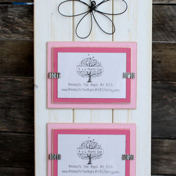 Double 4x6 Picture Frame - With Wire Flower - Distressed Wood - White, Light Pink and Valentine Pink