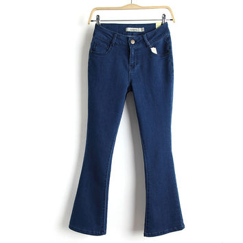 Summer Slim Stretch Boot Cut Pants Jeans [8864414343]