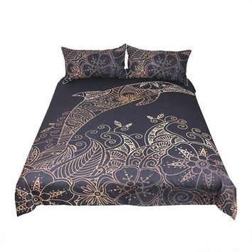 Gold & Black Dolphin Bedding Set