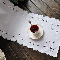 "50% OFF 69"" by 13.5 "",  White Embroidery  Cotton  Runner/Placemats"