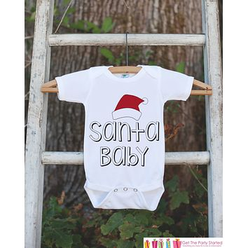 Santa Baby Christmas Outfit - Christmas Onepiece - Pregnancy Announcement - Baby Holiday Outfit - Newborn Christmas Gift for Boy or Girl
