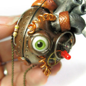 Steampunk Heart - Industrial Heart Pendant - polymer clay - anatomical heart