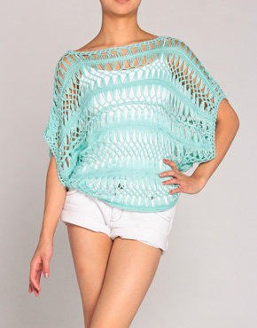 Crochet Knit Sweater in Seafoam Green