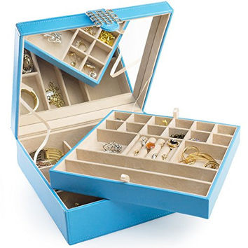 Jewelry Box - 28 Section Classic Jewelry Organizer with Modern Buckle Closure, Large Mirror & 2 Trays for Women Teens and Girls - Holder for Earring Ring Necklace Bracelet & Watch - PU Leather - Blue