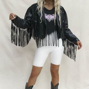 VINTAGE Fringe Black Leather Suede Jacket