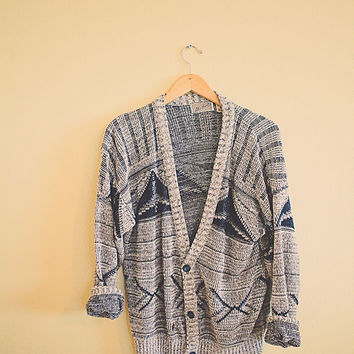 90's Hipster Cardigan White Navy Blue Grey  Plaid Jumper Sweater Button Up V-Neck Size Medium Pattern Cotton Oversized Cozy Comfy