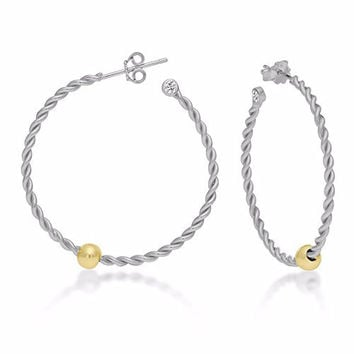 Sterling Silver Cape Cod Earrings Twisted Hoop Silver Body Gold Tone Ball with CZ