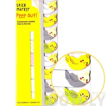 Adorable Parakeet Bird Shaped Memo Post-it Peep Out Sticky Tabs | Animal Themed Stationery