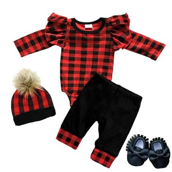 Buffalo Checkered Plaid Onesuit And Pants Ruffle