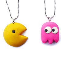 Pacman Best Friends Necklace - BFF Necklace Set, Friendship Gift, Kawaii Necklace Set, Kawaii jewelry
