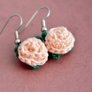 Peach Flower Crochet Rose Earrings, Floral Nature, Womens Teen Kids Spring Summer Jewelry, Wife Girlfriend Mom Sister Daughter Friend Gift