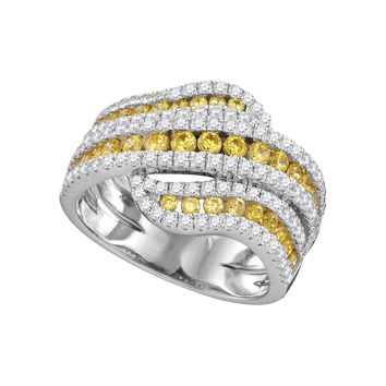 14kt White Gold Womens Round Natural Canary Yellow Diamond Crossover Band Ring 1-3/4 Cttw