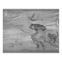 Monochrome Witch on a Broom Panel Wall Art