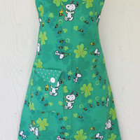 Vintage Style St Patricks Day Full Apron, Snoopy, Woodstock, Peanuts, Green Shamrocks