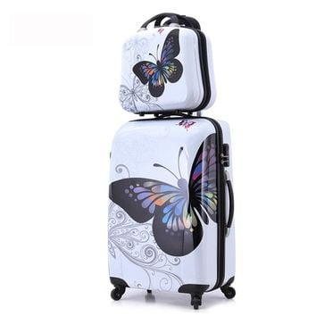 "20""+12"" 2 PCS Luggage Set Butterfly Suitcase Travel Luggage with spinner wheel"