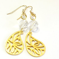 Gold filigree leaf and crystal Fashion Earrings - Womens Jewelry - Prom Formal Dangle Earrings - Bridesmaid Bride Jewelry